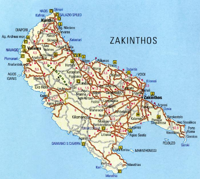 Zakynthos Map Vakanties Vakantie Zakynthos