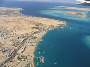 letecký pohled na Hurghadu